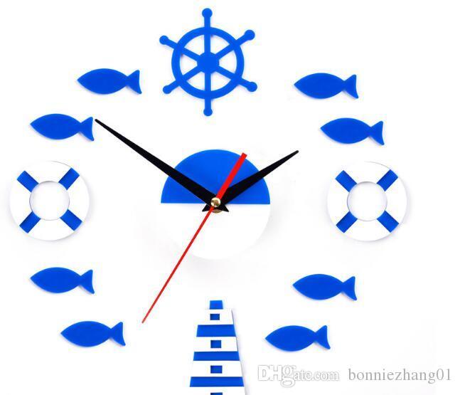 2016 القراصنة البحر ساعة الحائط diy الفن ملصقات الحائط الديكور ووتش ل أنواع غرفة المعيشة أجزاء