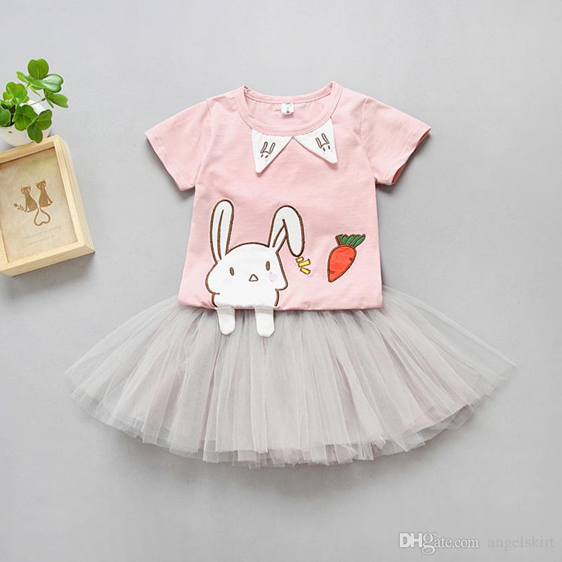 0bc020dc252db New Summer Baby Girl s Sets Fashion Casual Rabbit Girls t Shirt Tulle Skirt  Suit For 1-5 Years Children Kids Clothing Set
