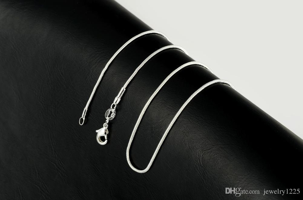 925 Silver Smooth Snake Chains Halsband 1mm Kedja 5 Blandad Storlek 16 18 20 22 24 tum