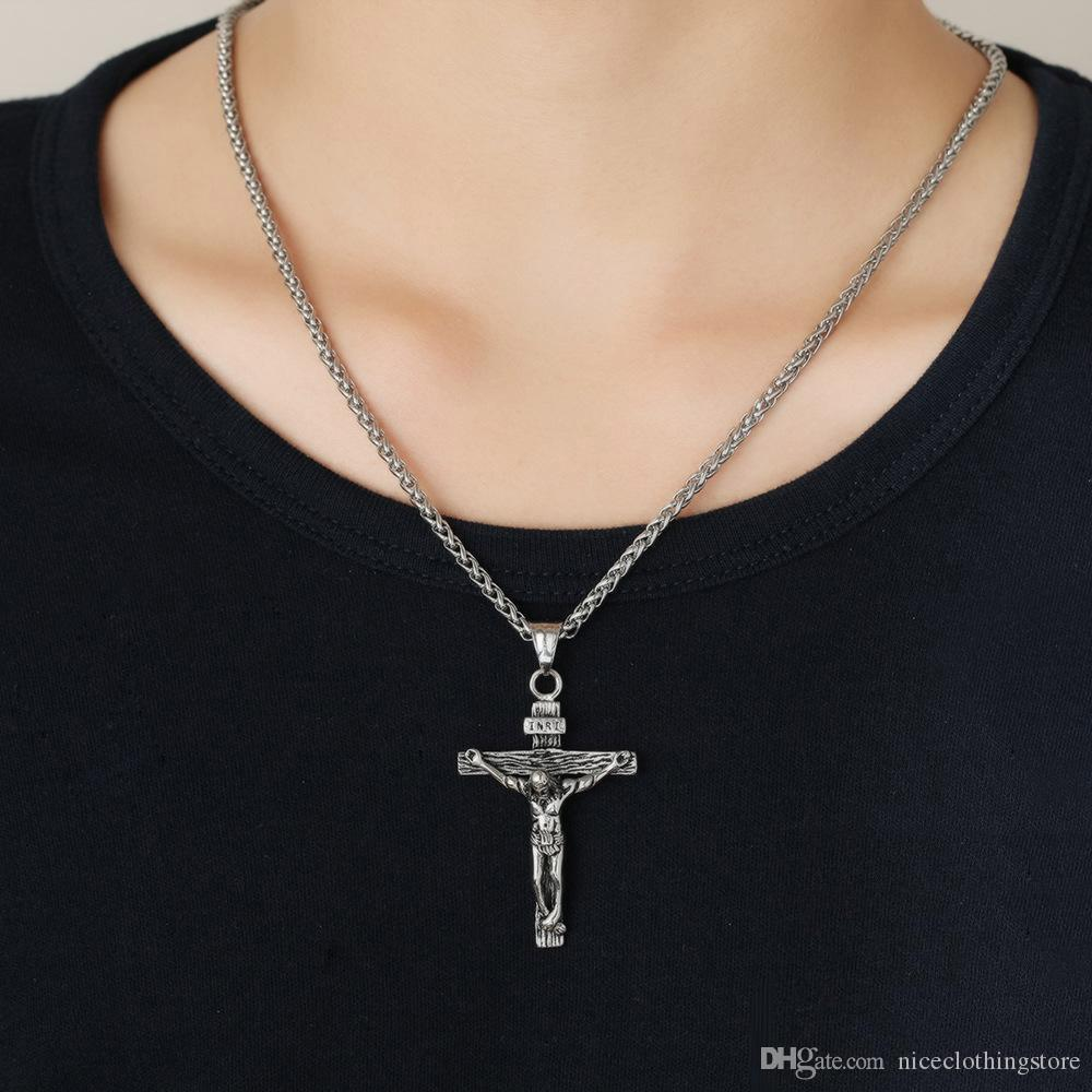 New arrival cross necklace mens Personalized fashion mens necklace 18K gold cross pendant necklace