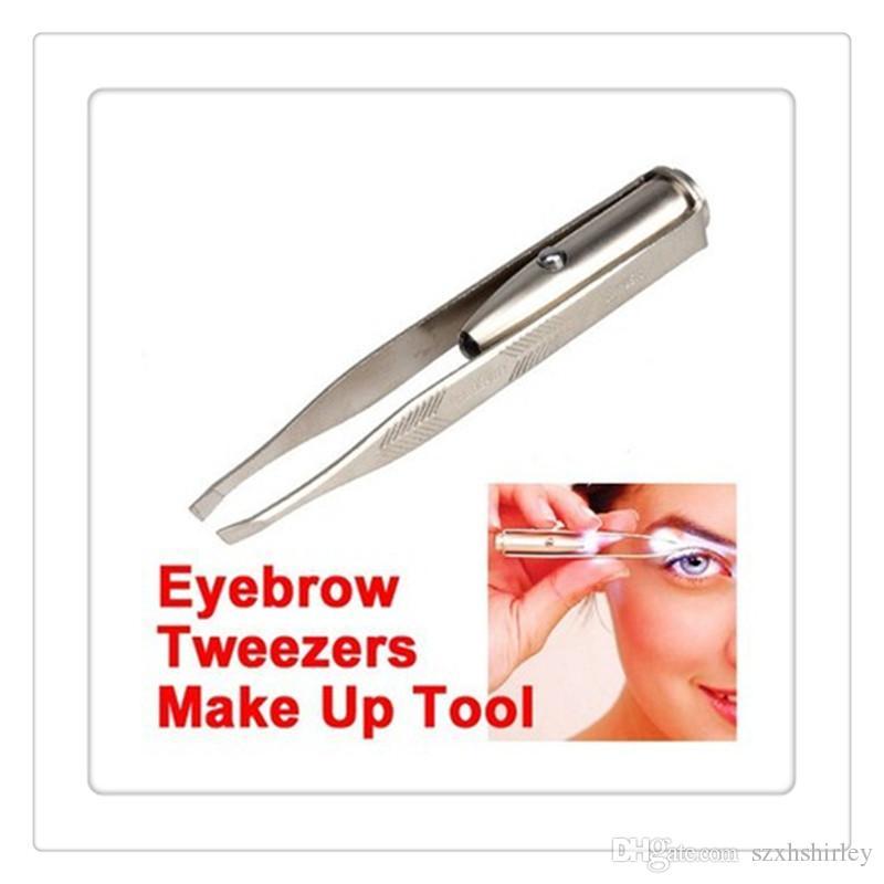 Pinza de eliminación de luz led maquillaje LED luz de pestañas ceja eliminación de pelo de acero inoxidable pinzas herramientas de belleza con batería Envío Gratis