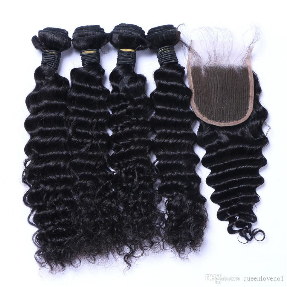Brazilian Deep Wave Curly Hair 3 Bundles with Closure Free Middle 3 Part Double Weft Human Hair Extensions Dyeable Human Hair Weave