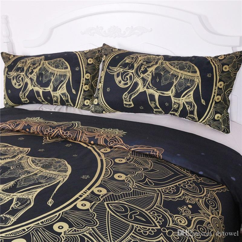 Wholesale Elephant Bedding Set Black Mandala Flower Comforter Set Queen King Bohemian Devet Cover with Pillow cover Bedclothes Home Textile