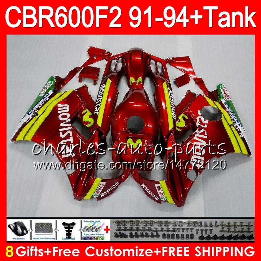 8 Gifts For HONDA CBR600F2 91 92 93 94 CBR600RR FS Movistar red 1HM18 CBR 600F2 600 F2 CBR600 F2 1991 1992 1993 1994 red Fairing