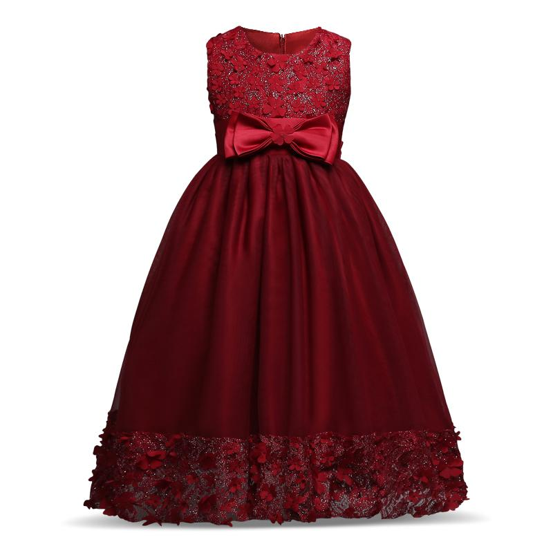 Formal Party Dress Wine red Kids Girl Flower Petals Dress Teen Children Girl Bridesmaid Toddler Elegant Dress Vestido Infantil