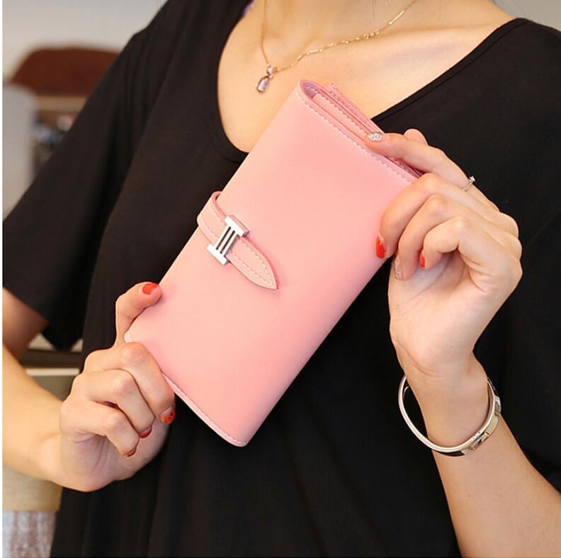 Yeni Gelmesi 2017 Moda Retro PU Deri Cüzdan Kadınlar Uzun Çanta Debriyaj Casual Çile Dolar Cüzdan Çanta Kredi Kartları Tutucu