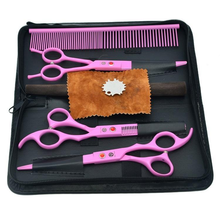 7.0Inch Purple Dragon Professional Pet Grooming Forbici Set Forbici da taglio Forbici che si assottigliano Cesoie curve Tesoura Puppy, LZS0359