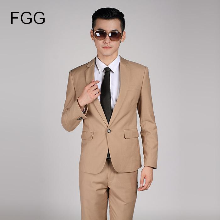 Wholesale- High Quality Men Khaki Suit Wedding Dress Groom Suit ...