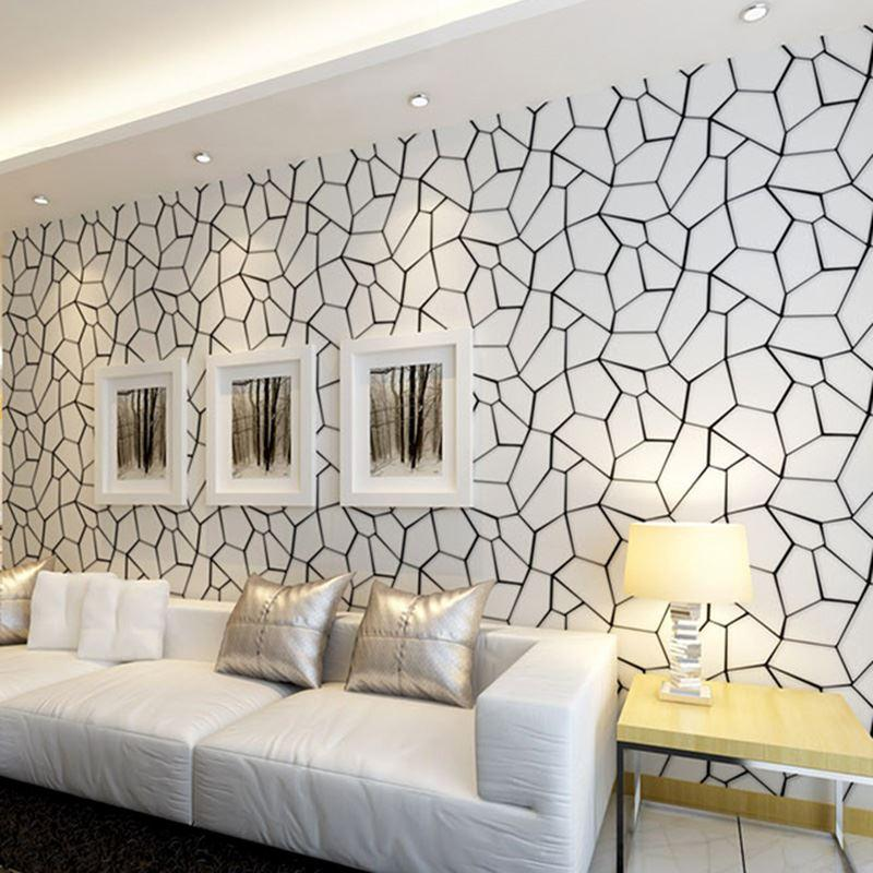Black and white geometric non woven wallpaper modern for Black and white room wallpaper