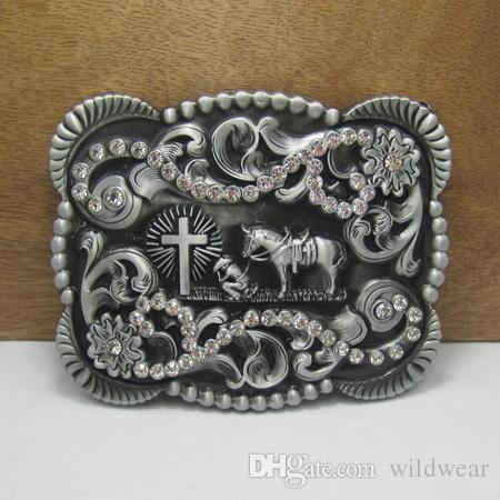 7ef3c930e5 BuckleHome western horse with cross belt buckle with rhinestones and pewter  finish FP-03544 with continous stock free shipping
