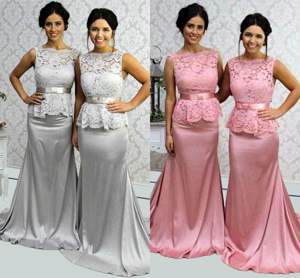 2017 bateau long bridesmaid dresses lace and satin mermaid style 2017 bateau long bridesmaid dresses lace and satin mermaid style party gowns backless sweep train custom made with sash evening gowns cheap asian bridesmaid ombrellifo Gallery