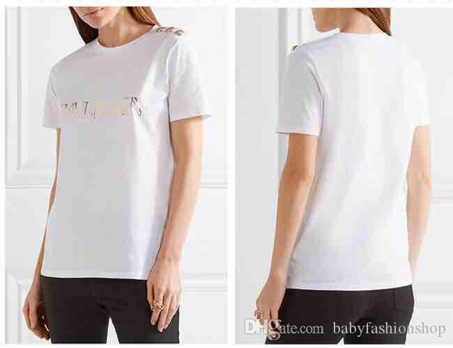 2018 nuevo estilo envío gratis minorista bal marca camiseta corta negro blanco verano Ropa de mujer Tops para mujeres