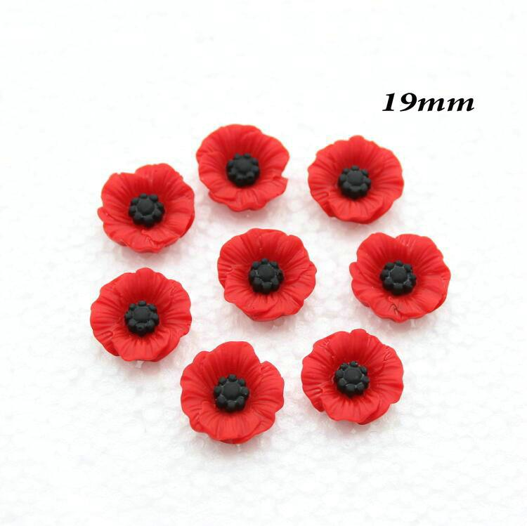 Chic Resin Red Poppy Flower Artificial Flower Flatback Embellishment