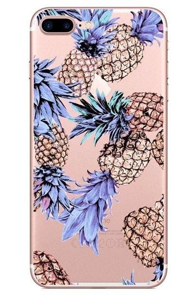 Fruit Soft TPU Case For Iphone 7 PLUS I7 7PLUS 6 6S I6 SE 5 5S Feather Lip Lipstick Pineapple Banana Cartoon Silicone Phone Skin Cover