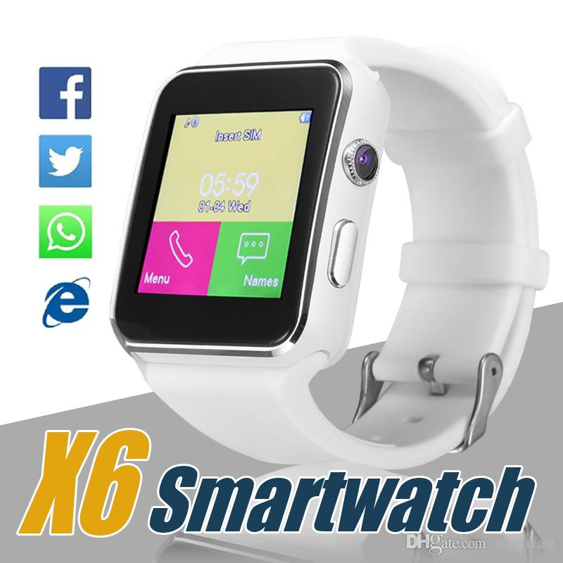X6 Smart Watch Curved Screen Smartwatches Support Camera SIM Card TF Card Slot Smartwatch For Android Smartphones in Box