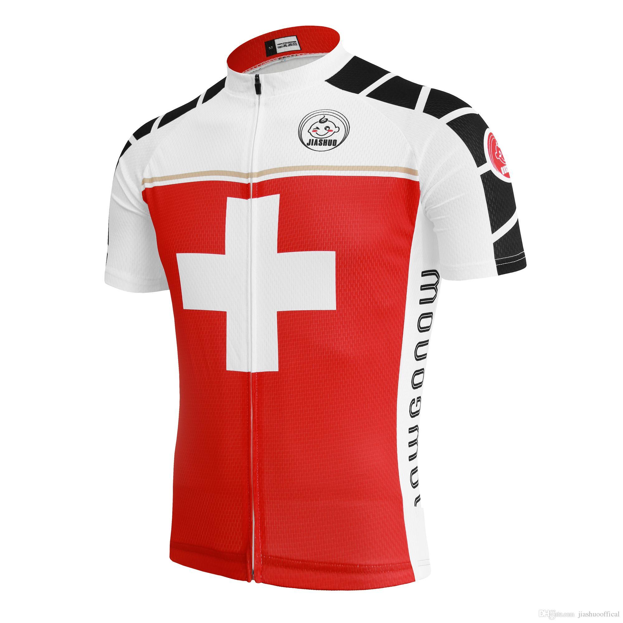Customized NEW Hot 2017 CROSS RED JIASHUO Mtb Road RACING Team Bike Pro Cycling  Jersey   Shirts   Tops Clothing Breathing Air Online Shirts V Neck T Shirt  ... 3c45bd770