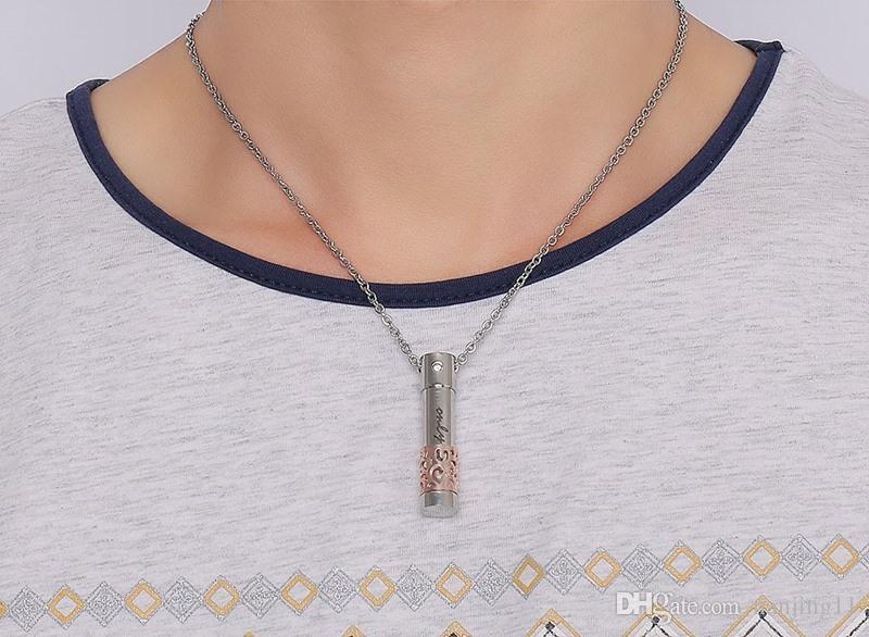 أزياء عطر قلادة قلادة زجاجة شكل للمرأة رجل الفولاذ المقاوم للصدأ قلادة الرجال مجوهرات PN-533