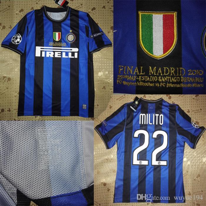 6f539d65c Acquista 2010 UCL Finale Inter Jersey Maglie Avvantaggiate Maglie Retoriche  Camicie Classiche Cambiasso Samuel Eto'o Lúcio Maicon Zanetti Sneijder  Milito A ...