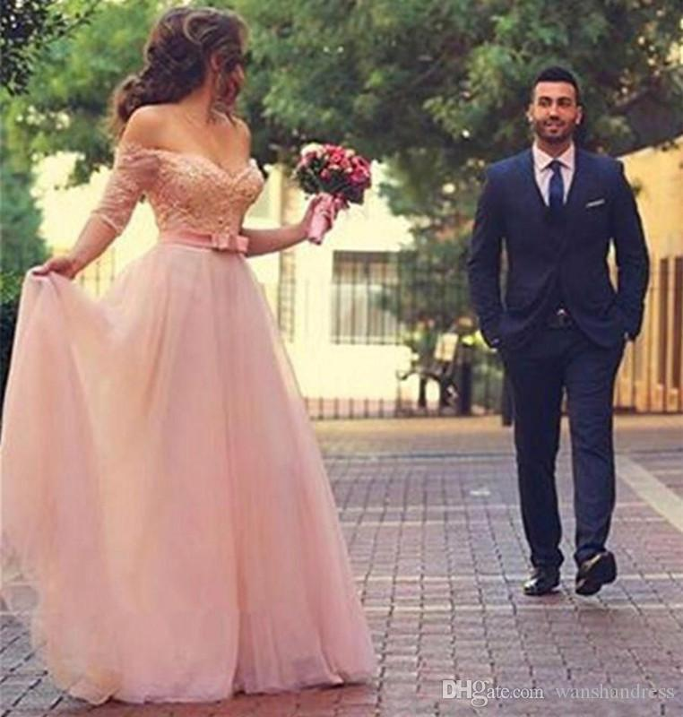 Discount romantic blush pink tulle a line wedding dresses 2017 sexy discount romantic blush pink tulle a line wedding dresses 2017 sexy off shoulder long sleeve backless wedding gowns simple custom made bridal dress halter junglespirit Image collections