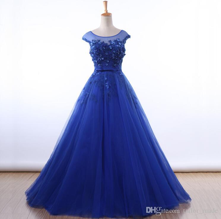2019 A Line 정장 이브닝 드레스 아플리케 Scoop Neck Prom 가운 Blue Fabric 무료 배송 Tulle