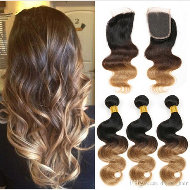 Best Ombre Hair Extensions Three Tone Brown Blonde 1b427 Ombre