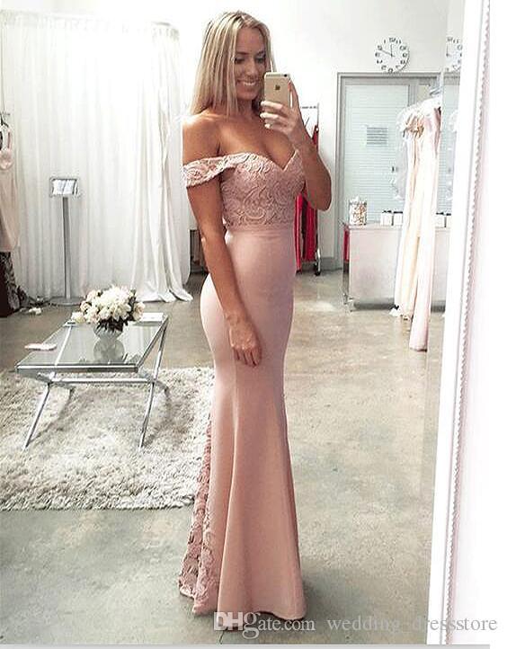 Elegant Satin Sleeveless Mermaid Evening Dresse 2017 New Lace Apliques V-Neck Prom Dresses Cap Sleeve Sweep Train Abendkleider