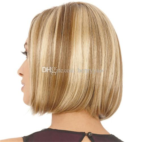 Cheap Short Bob Wig Straight Synthetic Hair Wigs Medium Side Bang Wig for Women Ombre Blonde Brown with Free Hair Net