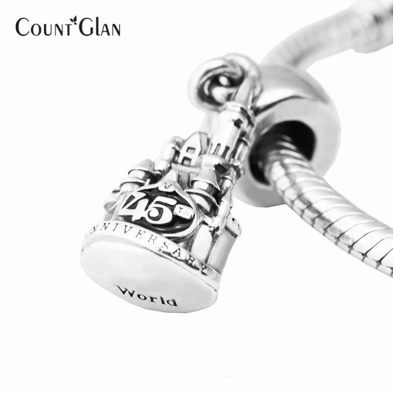 Fits Pandora Bracelets Cinderella Castle 45th Anniversary Silver Beads 100% 925 Sterling Silver Charms DIY Women Jewelry wholesale