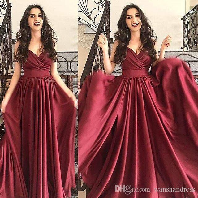 Großhandel Einfache Elegante Burgund Prom Kleider 2018 Sexy V ...