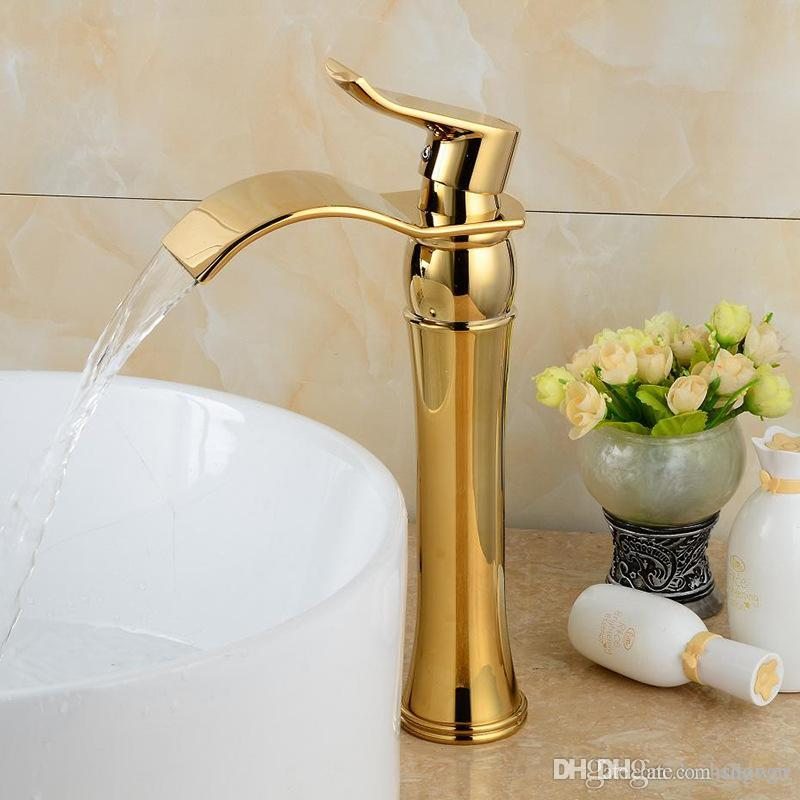 Online Cheap Gold Waterfall Faucet Washbasin Luxury Faucet 5 Star ...