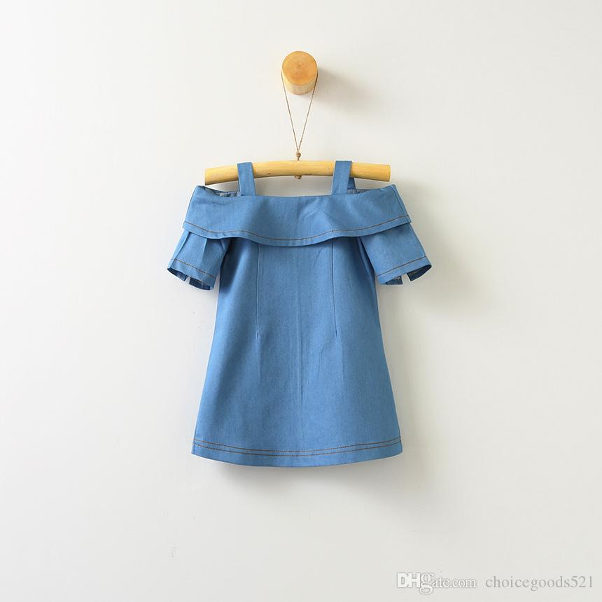 d88aa148a Kids Dress Summer Girl Off Shoulder Dress Kids Denim Top Baby Girl Clothing  Solid Color For 1~7 Year Girls 6 p/l