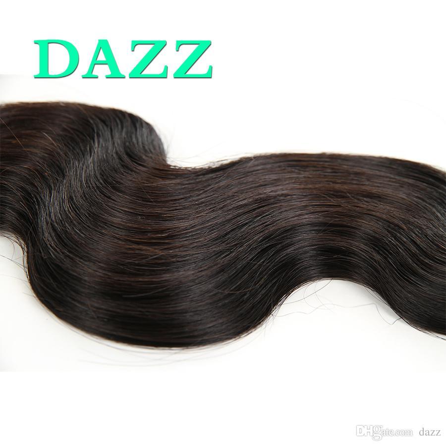 DAZZ Brésilienne Vierge Cheveux Corps Vague 4 Bundles Avec 13x4 Dentelle Frontale Fermeture Cheveux Brésiliens Humide Et Ondulés de Cheveux Humains Bundles Avec Fermeture