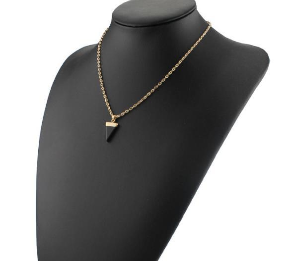 Hot K Nature Stone necklace , Durzy Gold Plated Triangle Quadrihedron, Cute gift , and hign quality