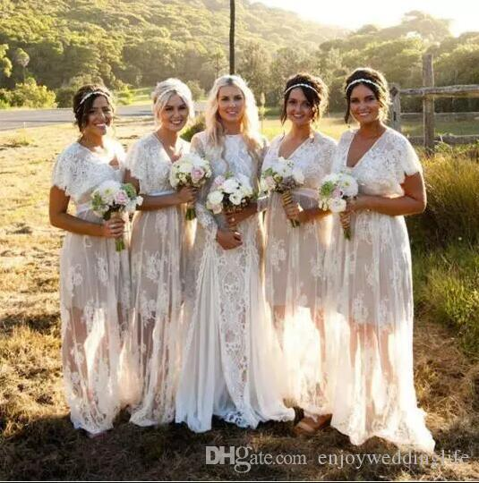 2020 Ivory Bohemian Sheer Lace Bridesmaid Dresses V Neck Short Sleeves Maid Of Honor Gowns Full Lace Wedding Guest Dresses Summer Beach Gown