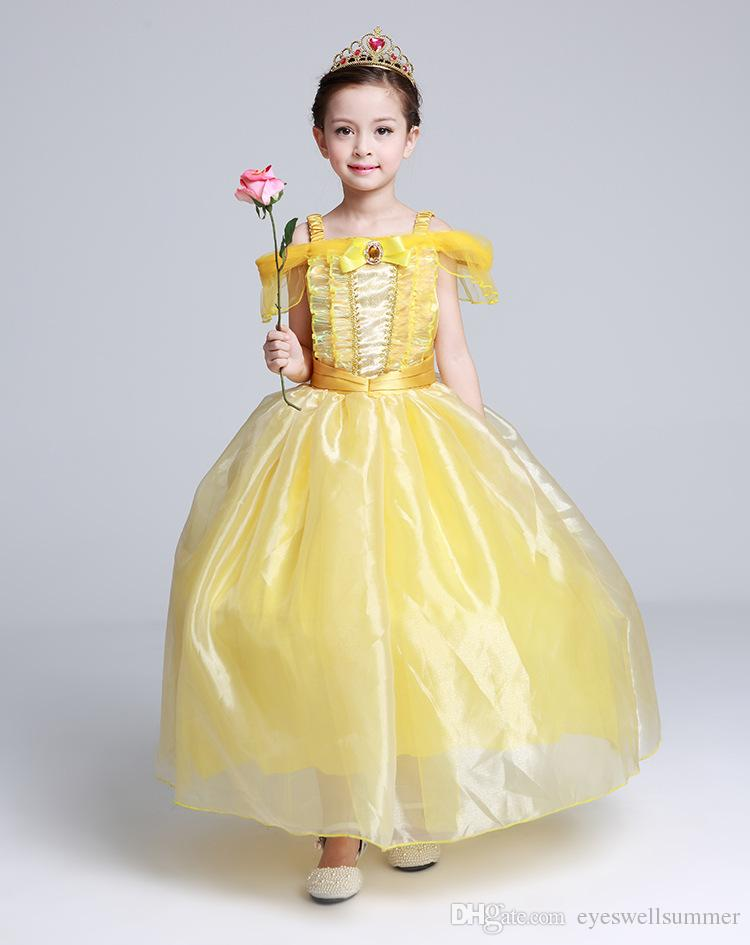 girl kid princess belle dress beauty and the beast halloween costume 110 150cm child girl birthday gift costume dress cosplay beauty and the beast dress kid