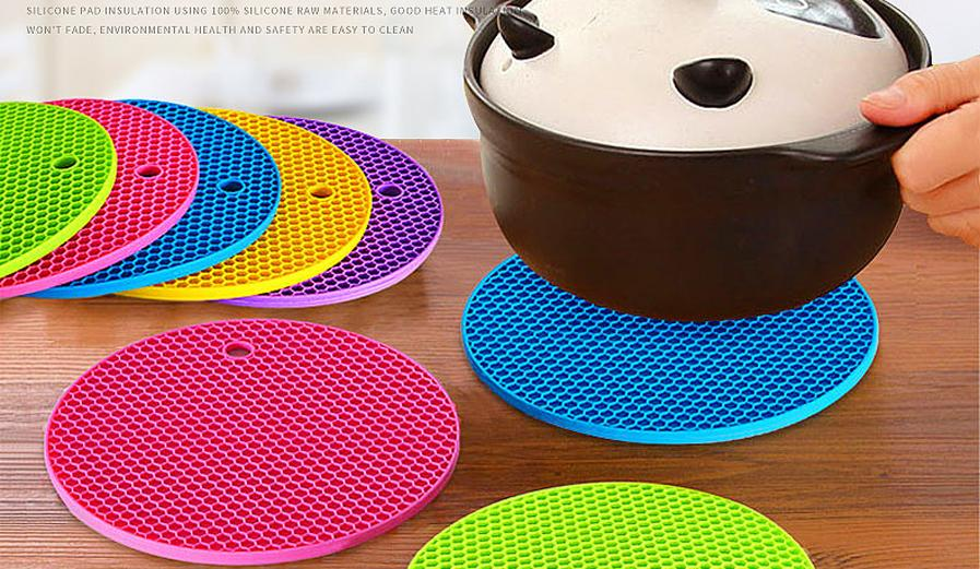 New Arrival 18cm Round Silicone Non-slip Heat Resistant Mat Coaster Cushion Placemat Pot Holder Mix Color