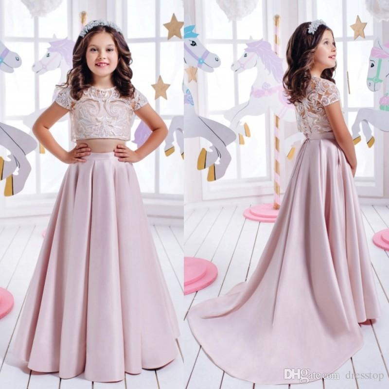 Chic Lace Two Pieces Flower Girls Dresses With Sleeves For