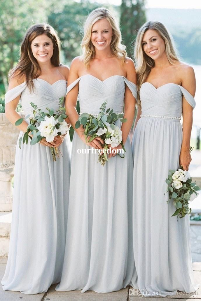 2018 Grey Sky Blue Chiffon Bridesmaid Dresses Off The