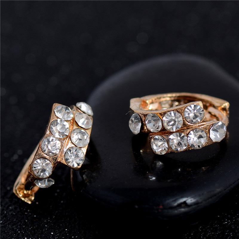 2018 Shuangr Gold Filled Ear Cuff Earrings Brand New Women Crystal