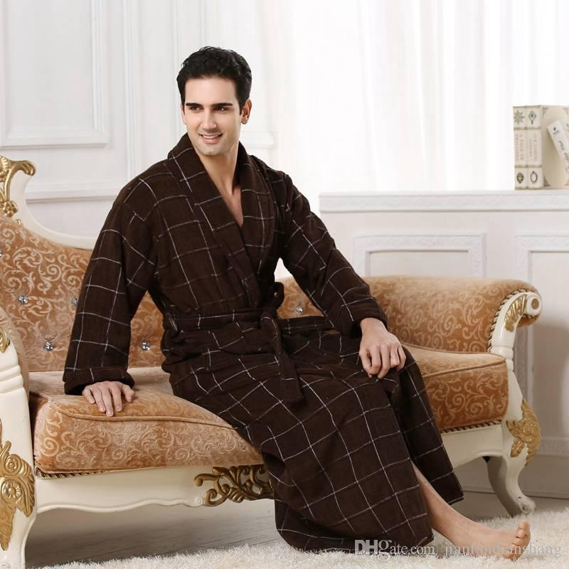 High-end Cotton bathrobe men women night robe towel fleece sleepwear for girls thickening lovers long plus size autumn winter