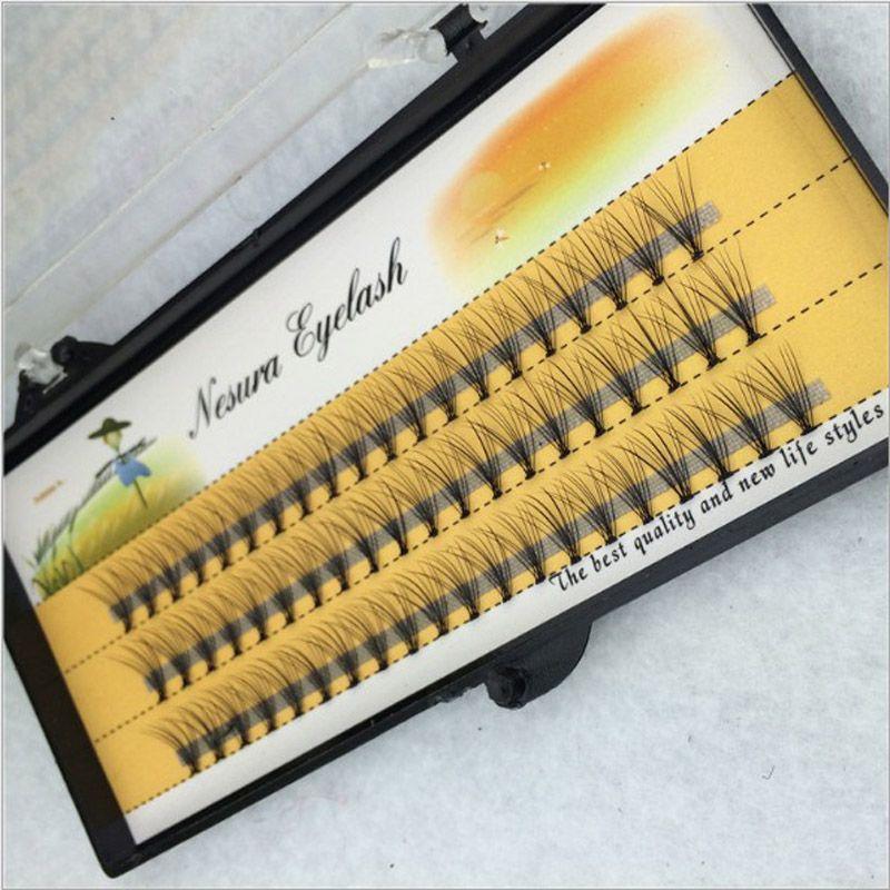 Wholesale 100 Cases 6/8/10/12/14mm Individual Flare False Eyelashes 10 Hairs/Cluster Fake Lashes natural long