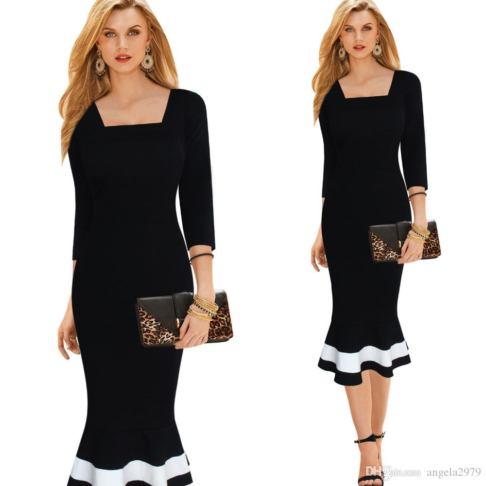 2019 Business Work Dress Elegant Mermaid Office 3 4 Sleeve Women Fashion Sheath  Black Pencil Bodycon Female Formal Dress Btyb233 Plus Size XXL From ... 8ea11e4dcd76