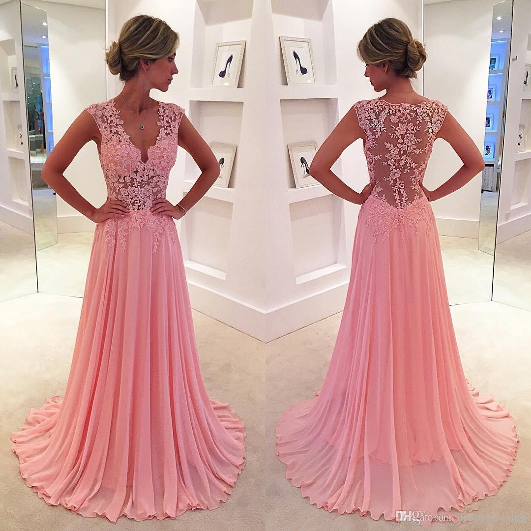 Pink Sheer Back Sexy Prom Dresses Illusion Lace Strap Adult Girls ...