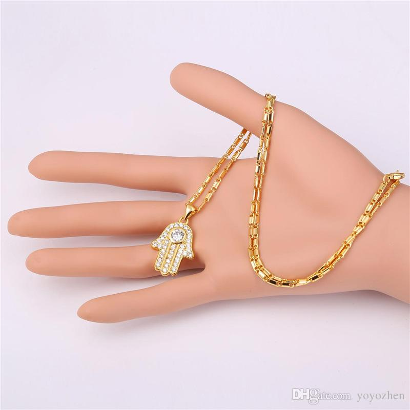 Hamsa Hand Necklaces Pendants for Women Men Clear Cubic Zirconia 18K Real Gold Plated Lucky Jewelry Gift