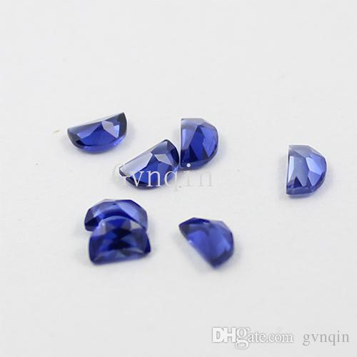 실험실에서 만든 블루 사파이어 # 34 하프 문 모양 기계 절단 루스 돌