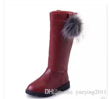 Bottes en peluche de cheville d'enfants d'hiver rouge pour des filles plates avec des bottes de neige en caoutchouc garçons imperméables chaussures antidérapantes
