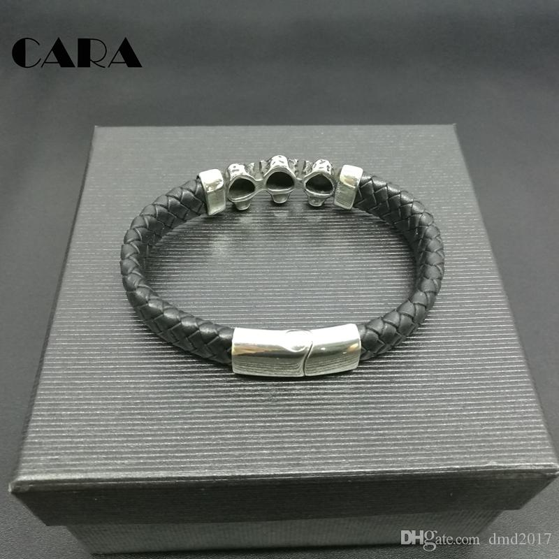 CARA NEW Top Quality Genuine Leather Braided Bracelet Men Stainless Steel leopard Bracelet With Magnetic Buckle Clasp CARA0053