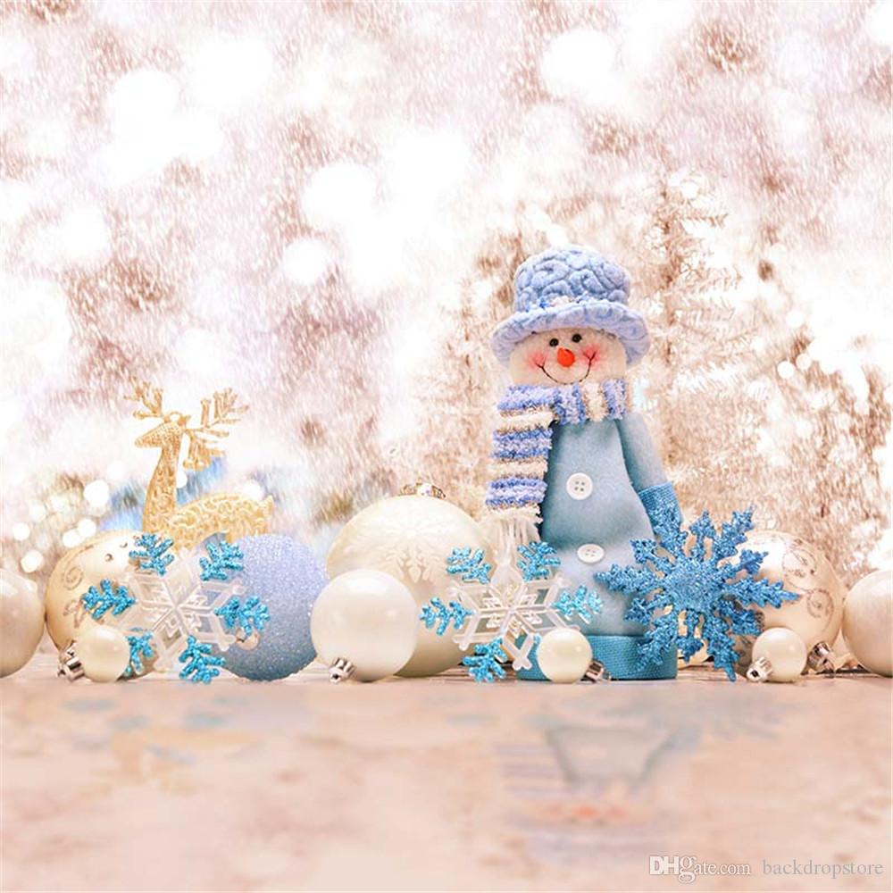 Acheter Blanc Bleu Flocons De Neige Bokeh Hiver Neige Photographie