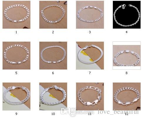 Low price Promotion! Fashion Bracelet Men/Boys 925 Sterling Silver Jewelry Curb/Figaro Chains Mix 10 Styles 10pcs/lot