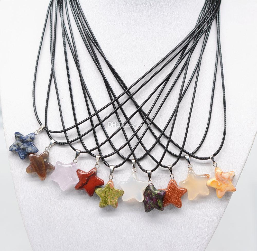 Женская мода ювелирные изделия ручной работы пятиконечная звезда форма натуральный камень Агат очарование кулон кожа веревка ожерелье
